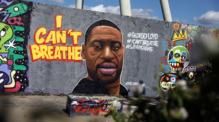 A mural depicting African-American man?George?Floyd killed while in police custody in Minneapolis, U.S., is pictured at Mauerpark in Berlin